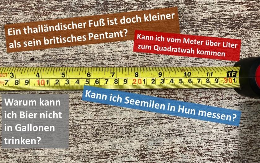 messen in Meter, Inch und Hun