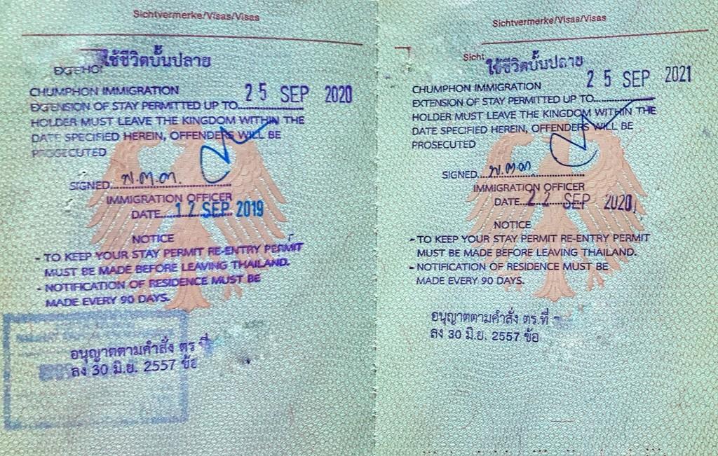 Non Immigrant Visa O retired für Thailand. Visumverlängerung Chumphon Thailand 2020
