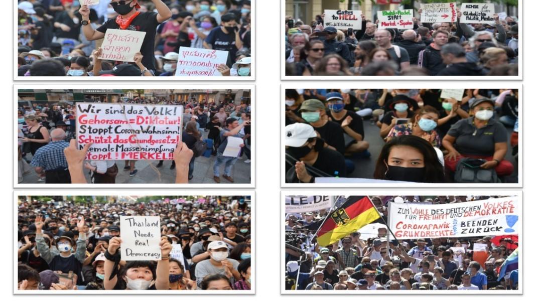 Demonstration in Deutschland und in Thailand