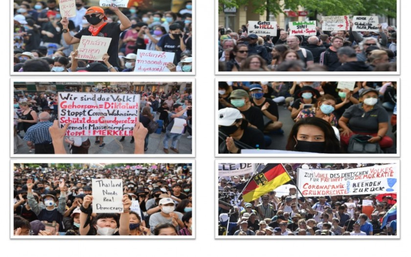 Demonstration in Deutschland und in Thailand
