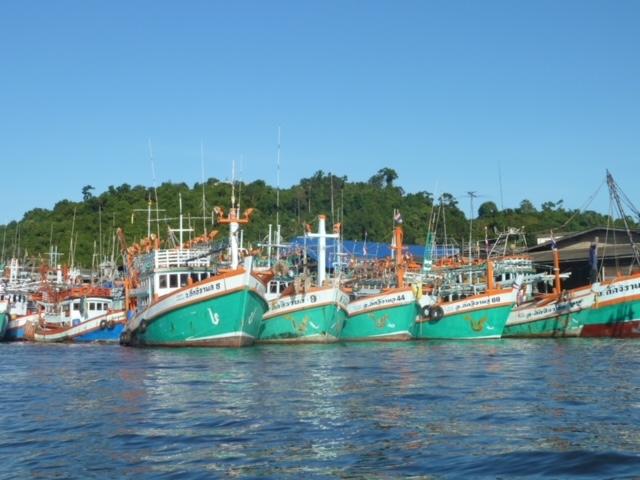 Fischerboote in Pak Naam, Chumphon, Thailand