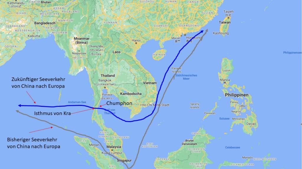 Istmust von Kra Asienkarte leben in Thailand Chumphon