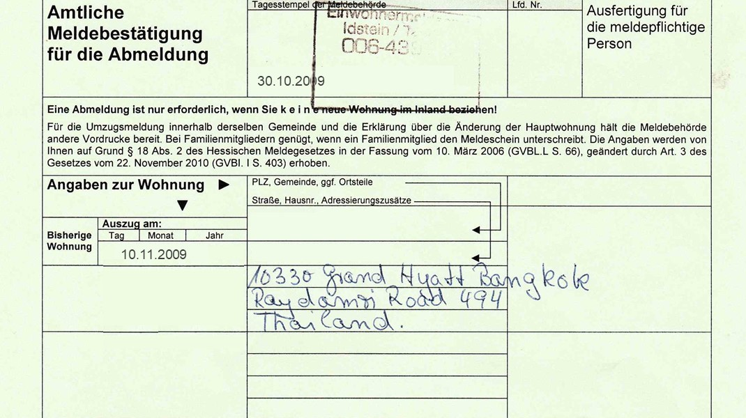 Abmeldebescheinigung, Umzug nach Thailand ohne Steuern in Deutschland