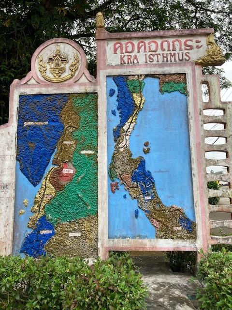 Hinweisschild Isthmus von Kra Kanal, Chumphon, Thailand