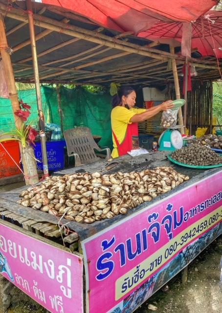 Muschelverkauf auf der Autobahn Chumphon Thailand