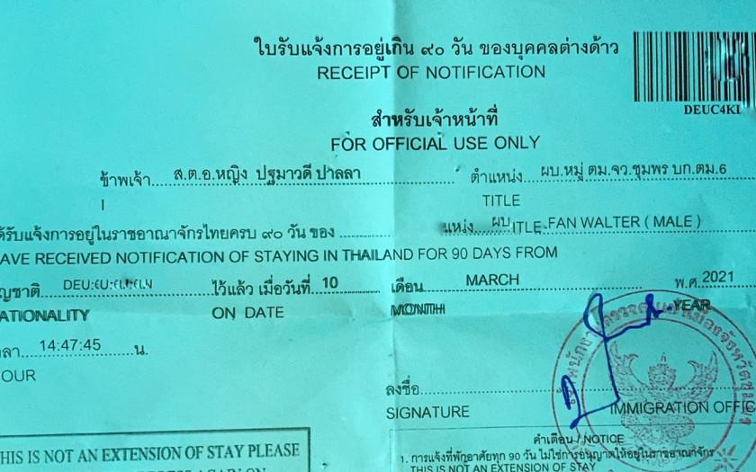 Visum Thailand 90 Tage Meldung