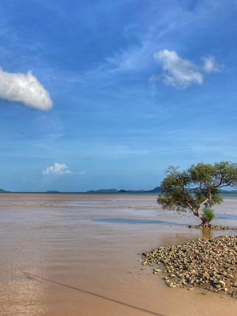 erdreiches Flusswasser mündet in Chumphon ins Meer